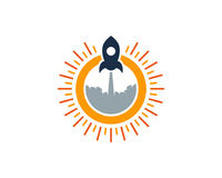 Rocket Sun Icon Logo Design-Element Royalty-vrije Stock Fotografie