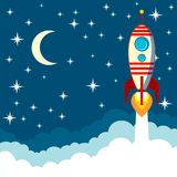 Rocket sur le fond de lune, illustration de vecteur Image stock