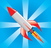 Rocket on takeoff. Rocket takes off against the blue sky Stock Photography