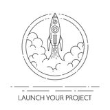 Rocket takes off Concept for new business project start-up. Rocket takes off. Isolated on white background. Modern line art design. Vector illustration. Concept vector illustration