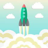 Rocket takes off and concept of startup business. Vector illustration Stock Photos