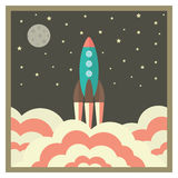 Rocket takes off at night and business startup concept in retro Royalty Free Stock Photo