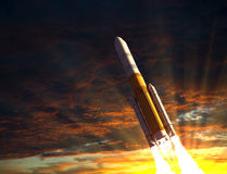 Rocket Taking Off In The Rays Of The Sun Royalty Free Stock Photos