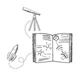 Rocket, telescope and astronomy book sketches Royalty Free Stock Image