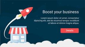 Rocket Themed Website Header Design ilustração stock