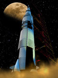 Rocket to the Moon. The Saturn V rocket in its launchpad, at night, with the Moon at the background vector illustration