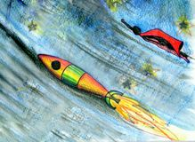 Rocket to the Moon. Drawing. Hand drawing of imaginary cosmos scene Royalty Free Stock Image