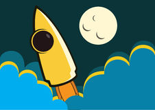 Rocket to the moon. The story of mankind journey for exploring the universe Stock Photography