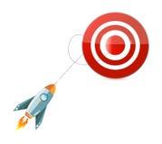 Rocket to target destination concept Stock Photos