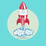 Rocket with trace of clouds flat design vector Stock Images