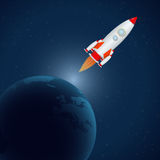 Rocket in universe Royalty Free Stock Photos