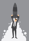 Rocket Up to the Top Metaphor Vector Illustration Royalty Free Stock Photography