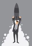 Rocket Up zur Spitzenmetapher-Vektor-Illustration Lizenzfreie Stockfotografie