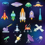 Rocket vector spaceship or spacecraft with satellite and spacy ufo illustration set of spaced ship or rocketship in. Universe space  on background Stock Photo