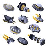 Rocket vector spaceship or spacecraft and spacy ufo illustration set of spaced ship or rocketship in universe space Royalty Free Stock Photo