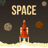 Rocket-Vektorillustration, das in Universum fliegen stock abbildung