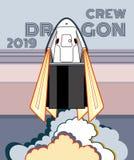 Rocket, vettore del mestiere dello spazio 2019 marzo, lancio di razzo 2 Astronave, fiamma e vapore del manifesto di vettore su fo illustrazione vettoriale