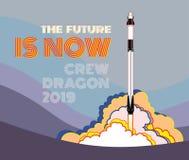 Rocket, vettore del mestiere dello spazio 2019 marzo, lancio di razzo 2 Astronave, fiamma e vapore del manifesto di vettore su fo royalty illustrazione gratis