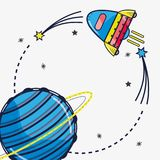 Rocket visiting to uranus planet in the galaxy. Vector illustration Royalty Free Stock Photos