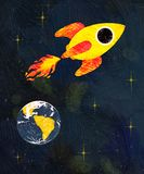 Rocket voa na perspectiva da terra e das estrelas ilustração royalty free