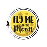 Rocket vuela alrededor del texto de la luna me vuela alrededor de fondo aislado plano Fotos de archivo
