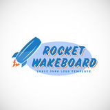 Rocket Wake Board Abstract Vector-het Embleem van het Kabelpark Stock Illustratie