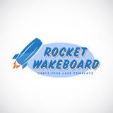 Rocket Wake Board Abstract Vector-het Embleem van het Kabelpark stock illustratie