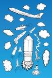 Rocket-Wolken und Flugzeugillustrationen Stockbilder