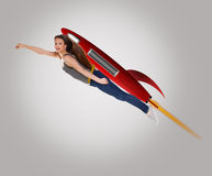 Rocket woman. Royalty Free Stock Photography
