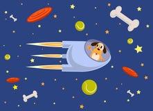 Rocket y el perro vuelan en el espacio, estilo plano Fotos de archivo