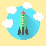 Rocket y las nubes, funcionan con un concepto del negocio Imágenes de archivo libres de regalías