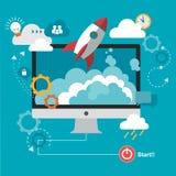 Rocket y nube con el ordenador ilustración del vector