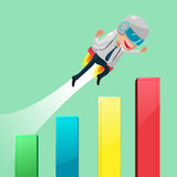 Rocketeer Flying Stock Market Graph Royalty Free Stock Images