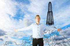 Rocketing concept stock images