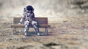 Rocketman on bench. Mixed media. Spaceman sitting on wooden bench. Mixed media royalty free stock photos