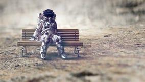 Free Rocketman On Bench. Mixed Media Royalty Free Stock Photos - 137737598