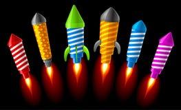 Rockets. Vector illustration of rockets.Fireworks Stock Photos