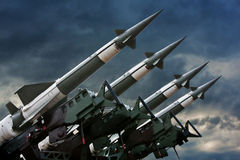 Rockets. Antiaircraft  rockets on the launcher against dramatic sky Stock Images