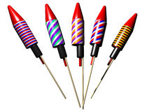 Rockets. 3d image of isolated fireworks rockets Stock Image