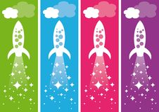 Rockets. Flying rocket ships. Vector illustration Royalty Free Stock Image