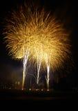 Rockets across night sky Royalty Free Stock Image