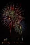 Rockets across night sky Royalty Free Stock Photo