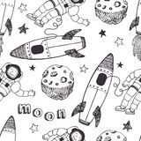 Rockets and astronauts pattern Royalty Free Stock Photography