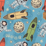 Rockets and astronauts in space pattern vector illustration