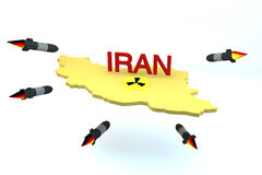 Rockets attack Iran model with nuclear logo. Rockets attack Iran model with nucliar logo on white background Stock Photo