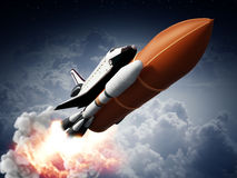 Rockets carrying space shuttle launches off. 3D illustration.  royalty free illustration