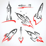 Rockets collection set. Vector vector illustration