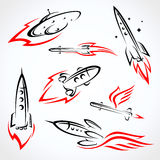 Rockets collection set. Vector Stock Image