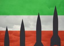 Rockets contra de la bandera iraní foto de archivo libre de regalías