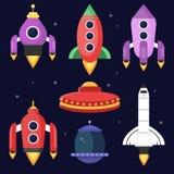 Rockets e navette spaziali Illustrazioni di vettore nello stile piano illustrazione di stock
